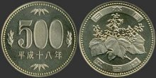 Back of a coin of 500 yen displaying paulownia.